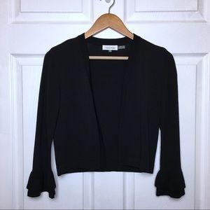 CALVIN KLEIN Black Bell Sleeve Open Front Cardigan